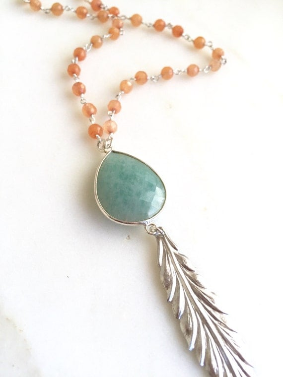 Long Silver Leaf Feather Necklace. Layering Necklace. Aquamarine Peach Stone Feather Necklace. Beaded Necklace. Boho Jewelry. Pendant.