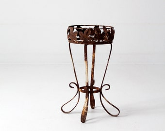 vintage iron plant stand, small pedestal table