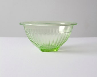 green Depression glass bowl, vintage ribbed kitchen mixing bowl