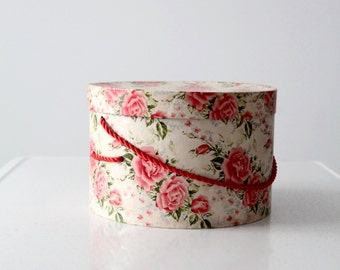 vintage hat box, floral storage box