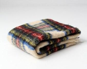 SALE vintage Liberty of London wool blanket, plaid mohair throw