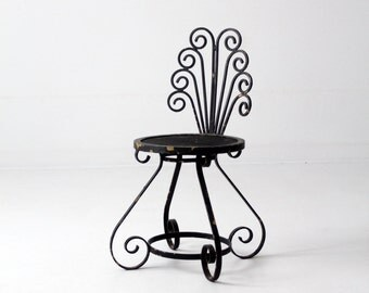 FREE SHIP vintage garden chair, black iron accent chair, outdoor furniture
