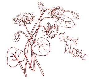 "Antique Redwork Pillow Sham Lay Over - Embroidered Needlework ""Good Night"" on Cotton - Vintage Linen"