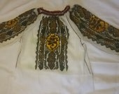 Vintage Romanian embroidered  costume blouse roses beads folk