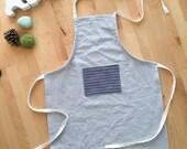 KIDS APRON linen/cotton with stripe pocket blue boys apron unisex, large bib