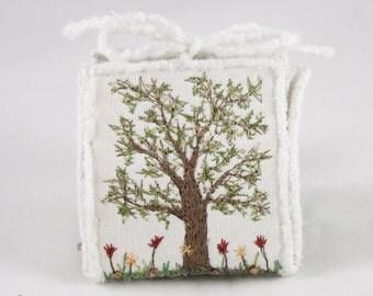 Floral Gift box Spring garden garden lover wedding favor box silk purse Red tulip flowers floral silk embroidery trinket box