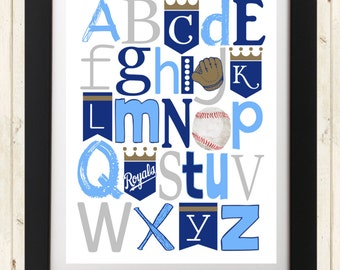 KC ROYALS baseball ABC Nursery Art Print