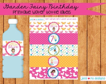 Fairy Garden Party Printable Birthday Water bottle labels- Personalization included!