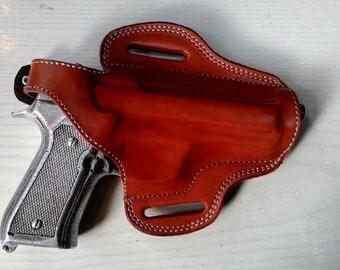 Beretta 92 ,F92 ,92F ,92FS ,92D, 96, M9 Belt Leather Hand Made Holster Tan Black R.H