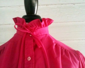 Vintage Pink Shirt - 70s 80s Fuchsia Blouse with Ruffles and Bow Tie