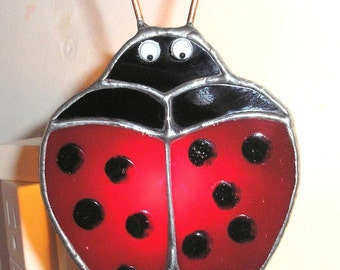 LT Stained glass red Ladybug night light lamp dots are painted on and sealed