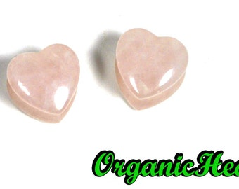 "Rose Quartz Heart Shaped Plugs 0g-5/8"" (Sold as Pair) Handmade Jewelry (0g, 00g, 7/16"", 1/2"", 9/16"", 5/8"")"