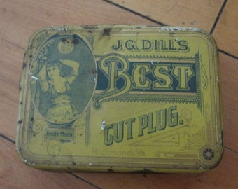 Antique Advertising Tin J.G. Dill's Cut Plug Tobacco Richmond, VA Yellow and Green Patina Old Hinged Clean Tin