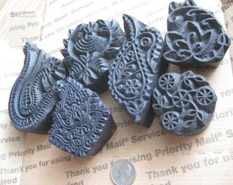 6 Vintage Wood Stamps With Find Detail in great shape for Clay or Fabric stamping box 5