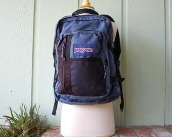 Vintage Jansport Backpack Back Pack Blue USA Sack Pack Book Bag Student Biker Rider Organizer Travel Bag 90s Preppy Hipster Nylon Vegan Fall