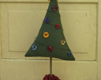Primitive Christmas Tree with Buttons & Wire - Shelf Sitter - Centerpiece - Cupboard Tuck - Fabric - Table Decor