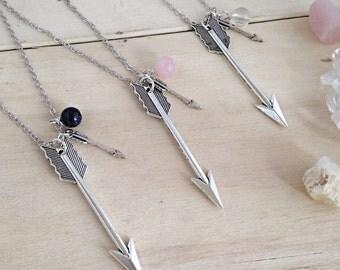 Arrow Necklace, Arrow Charm, Gemstone Arrow Necklace, Long Arrow Pendant, Teenage Gift, Travel Gift, Adventure Necklace, Arrow Jewellery