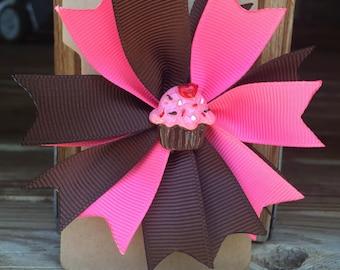 Cupcake hair bow, Pink and brown hair bow, girl's hair bow, girl's 4 inch hair bow, toddler hair bow, spike hair bow