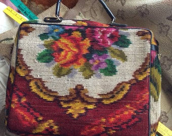 A Vintage Worn Koret Carpet Needlepoint Large Handbag That Has THE Look