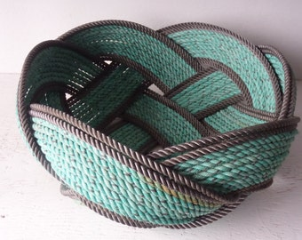 """Unique Rope Bread Basket Bowl 15"""" x 8 """"   Centerpiece Nautical Decor Made in Alaska Choose Color of Rope"""