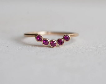Ruby Curve Band Solid 14k Recycled Gold | Ruby Curve Ring Gold | Genuine Ruby Ring