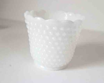 Vintage Fire King Milk Glass Planter, Hobnail Milk Glass Planter