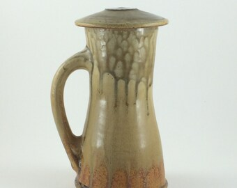 Orange Stoneware Pottery Coffee Cup Lidded Mug Beer Stein Pint Glass (YCP631)