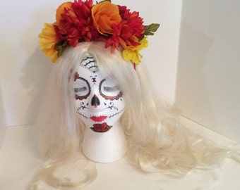 Day of the Dead Crown,Frida Kahlo headband,Dia de los Muertos crown,Marigold Crown,Yellow Orange Red Headband,Catrina,Gothic Lolita