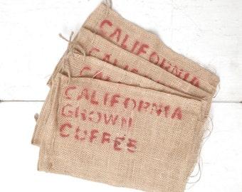Burlap Coffee Bags Small California Grown Coffee Tree Bags Set of Four for Repurposing DIY