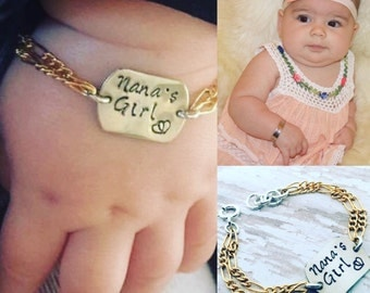 Personalized 14kt Gold filled and silver adjustable infant to toddler baby bracelet. Custom stamped with name, date etc..