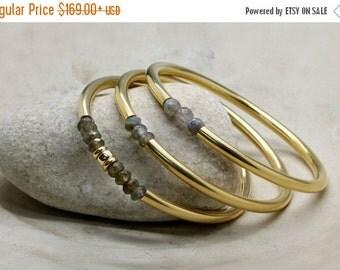 SUMMER SALE - gemstone bracelet,labradorite bracelet,gold bangles set,everyday bracelets,stone bangles,triple tube bangle set,birt