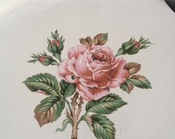Vintage Round Enamel Tray White Pink Rose Red Rim Metal Floral ~ #5589