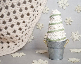 Textile Christmas Trees - Small Fabric Trees - Small Handmade Christmas Tree - White And Green Doll Trees - Christmas Decor - Vintage Tree