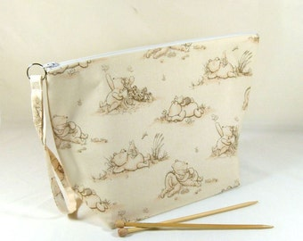 Knitting Project Bag - Large Zipper Wedge Bag in Cream Winnie the Pooh Quilting Fabric with Cream and Gold Polka Dot Cotton Lining