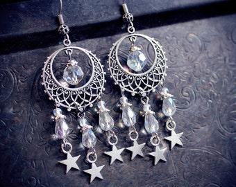 Celestial Chandeliers, star earrings, hoop earring, wiccan jewelry, wicca, pagan earrings, fantasy jewelry, bohemian, tribal fusion, gypsy