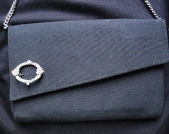 1960's Black Faille Fabric Evening Bag Handbag w/ Rhinestone Detail
