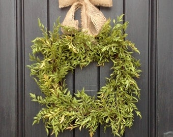 Spring Wreath Summer Wreath Green Foliage Door Wreath Square Grapevine Wreath Decor Mothers Day-Indoor Outdoor Decoration-Artificial