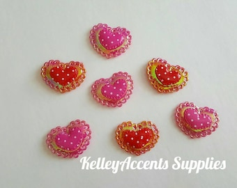 Puffy Heart Appliques - Shiny Padded Heart Appliques