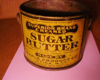Antique Advertising Box Tin Litho Sugar Butter Maple Products Co Utica NY Early 1900s Vintage