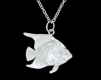 Sterling Silver Double Sided Angelfish Pendant or Necklace  (Optional Chain)