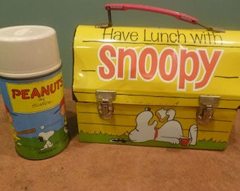 Snoopy lunchbox, 1968 dome top, thermos w cup