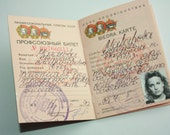 Vintage Identity Document 1990 - Union card of USSR Trade Unions - communism - blank form - Ticket ID Card - USED - Identity Card