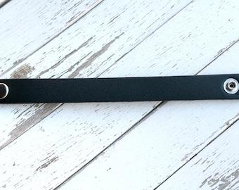 "New SHORTER Length - 3/4"" Leather Cuff Bracelet - BLACK -  Genuine Leather Cuff Bracelet - Cuff Wristband - ONE Cuff Blank - Jewelry Supply"