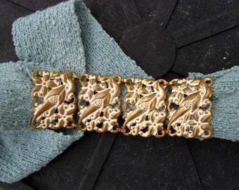 Vintage, 1930s 1940s pressed brass art nouveau style belt buckle
