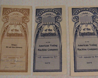 Three old stock certificates, two issued 1917, one issued 1920, Hodges oil and gas, American voting machine