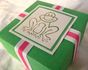 Ribbit Frog Treat Box. in Green with Hot Pink & White. Hand-folded Keepsake. for Giving... with Love