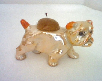 Vintage butterscotch lusterware bull dog pin cushion