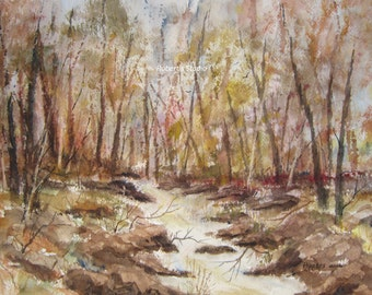 Autumn Watercolor, landscape painting archival print, fall painting, woodland scene, home wall decor, watercolor nature print, forest stream