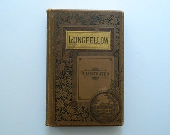 The Poetical Works of Henry Wadsworth Longfellow. Antique Illustrated Book. Circa 1885.