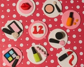 Fondant Makeup and Age Toppers for Birthday Cupcakes, Cookies or Cakes